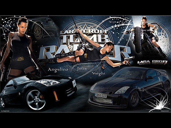 Wallpaper Angelina Jolie Voight & Nissan 350Z 480x272 (PSP),