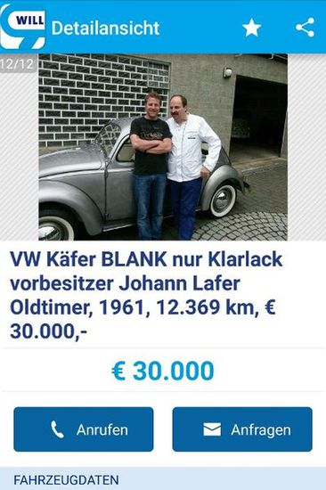 Youngtimer + Oldtimer - TV-Koch Lafer verkauft Käfer-Oldie